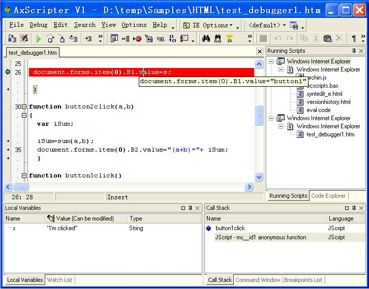 AxScripter is an Active script debugger, including Vbscript and Javascript.